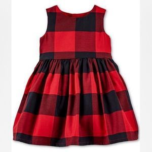 NWT! Carter's Red / Black checkered  Holiday Dress